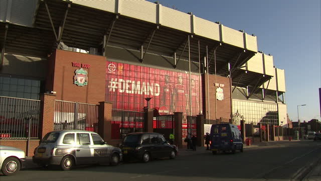 Exterior of the Kop end at Anfield home of Liverpool Football Club