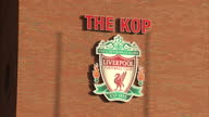 CLEAN Exterior of the Kop end at Anfield Liverpool FC club badge on stadia wall