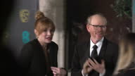 Exterior red carpet shots of Bryce Dallas Howard actress her father Ron Howard Actor Director at the BAFTA Awards at the Royal Albert Hall on...