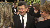 Exterior shot Andy Serkis actor on Academy Awards red carpet talking about working on Star Wars The Force Awakens on February 28 2016 in Hollywood...