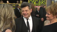 Exterior shot Andy Serkis actor on Academy Awards red carpet talking about attending events on Oscars weekend on February 28 2016 in Hollywood...