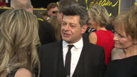 Exterior shot Andy Serkis actor on Academy Awards red carpet talking about diversity issues surrounding the Oscars nominations on February 28 2016 in...