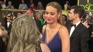 Exterior shot Brie Larson actress on Academy Awards red carpet talking about being nominated for Academy Award for Best Actress on February 28 2016...