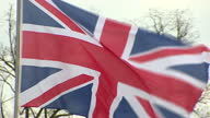Exterior shot British Union Jack flag blowing in wind on April 25 2016 in Hanover Germany