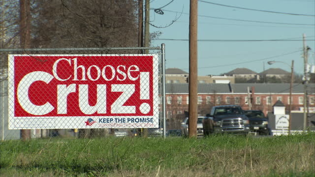 Exterior shot 'Choose Cruz' signage at side of road supporting Republican Presidential Candidate Ted Cruz on January 13 2016 in Columbia South...