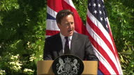 Exterior shot David Cameron addresses the media on the Libya conflict at Lancaster House in a joint presser with Barack Obama David Cameron at...
