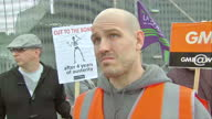 Exterior shot Grant Bennett GMB representative answers question as to why strikes are happening why they are justified in doing so on July 10 2014 in...