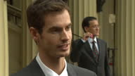 Exterior shot interview Andy Murray talking about Prince William conversation Catherine's handwriting Andy Murray Speaking After Receiving OBE on...