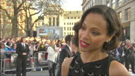 Exterior shot interview with actress Zoe Saldana talking about bringing Star Trek up to date London Premiere of Star Trek in to Darkness on May 03...