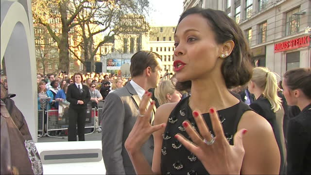 Exterior shot interview with actress Zoe Saldana talking about the Sci Fi genre London Premiere of Star Trek in to Darkness on May 03 2013 in London...