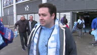 Exterior shot Jason Manford comedian and Manchester City fan talking outside the Etihad Stadium about winning the Premier League and the number of...