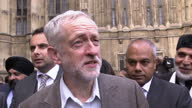 Exterior shot Jeremy Corbyn MP Labour Leader talks about a multifaith sports initiative and how football brings people together on October 12 2015 in...