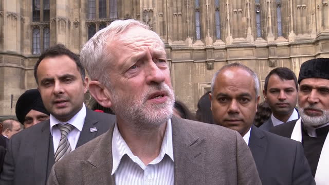 Exterior shot Jeremy Corbyn MP Labour Leader talks about the FIFA Scandal proper investigations into corruption and who should replace Sepp Blatter...