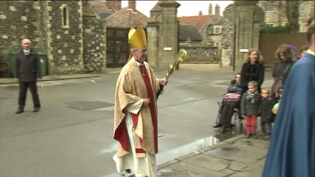 Exterior shot Justin Welby Archbishop of Canterbury walks into Canterbury Cathedral Justin Welby Arrives at Canterbury Cathedral on March 31 2013 in...