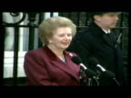 Exterior shot Margaret Thatcher speech outside 10 Downing Street 'eleven and a half wonderful years' gets into car then drives off Exterior shot...