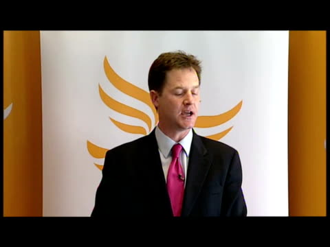 Exterior shot Nick Clegg criticising Labour in a Local Elections campaign speech to Liberal Democrat supporters in Sheffield Nick Clegg Criticises...