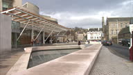 Exterior shot of Holyrood Scottish Parliament building designed by Enric Miralles