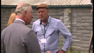 Exterior shot Prince Charles Prince of Wales visits Myddfai for 'Harmony in Food and Farming' a conference at Llandovery College organised by the...