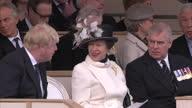 Exterior shot Princess Anne The Princess Royal sitting next to Prince Andrew Duke of York while chatting to Boris Johnson UK Foreign Secretary at war...