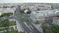 Exterior shots aerial shots of Bucharest City centre street scenes traffic and the Palace of the Parliament iconic building on February 07 2014 in...