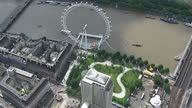 Exterior shots aerials children playing in playground in Jubilee Gardens the London Eye on the South Bank on July 16 2014 in London England