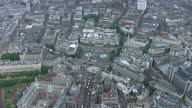 Exterior shots aerials Trafalgar Square with protesters preparing for strike action on July 10 2014 in UNSPECIFIED United Kingdom