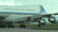 Exterior shots Air Force One taxiing to runway at Stansted Airport after President Obama visit to UK on April 24 2016 in Essex England