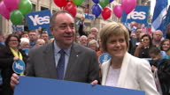 Exterior shots Alex Salmond and Nicola Sturgeon with Yes supporters