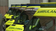 Exterior shots ambulances parked up outside hospital Exterior night shots Ambulances driving in and out of hospital on March 02 2015 in Bristol...