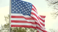 Exterior shots American flag blowing in wind on April 25 2016 in Hanover Germany