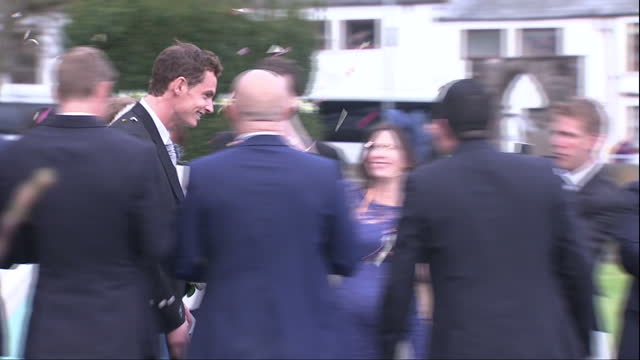 Exterior shots Andy Murray and Kim Sears depart Dunblane Cathedral as man and wife on April 11 2015 in Dunblane Scotland
