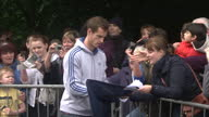 Exterior shots Andy Murray chats with fans signs autographs as he returns to heroes welcome in Dunblane Andy Murray Given Heroes Welcome in Dunblane...
