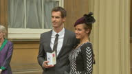 Exterior shots Andy Murray with girlfriend Kim Sears photo opportunity with OBE award Andy Murray With OBE Photo Opportunity on October 17 2013 in...