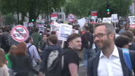 Exterior shots anti government demonstrators student protesters students demonstrating against Tory government and austerity law on May 27 2015 in...