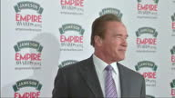 Exterior shots Arnold Schwarzenegger poses on red carpet on March 30 2014 in London England