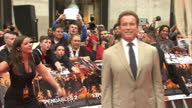 Exterior shots Arnold Schwarzenegger poses on the red carpet at the Expendables 2 premiere Arnold Schwarzenegger Expendables 2 Red Carpet on August...