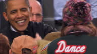 Exterior shots Barack Obama greets hugs supporters after a campaign rally address in Madison Wisconsin Barack Obama Meets Supporters Post Speech at...