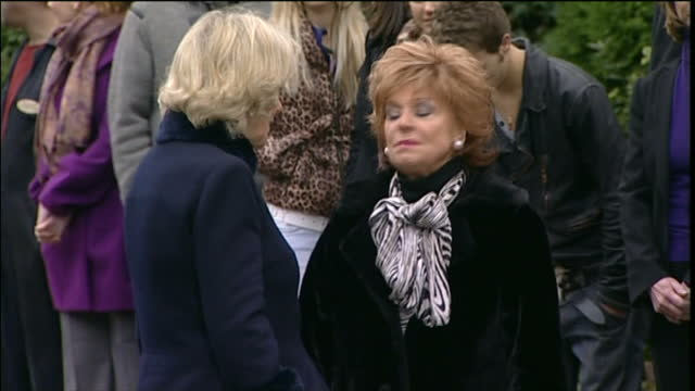 Exterior shots Barbara Knox with cast from Coronation Street and Barbara greeting Camilla Duchess of Cornwall on set on October 15 2014 in London...