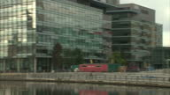 Exterior shots BBC Media City Salford Quays Headquarters BBC logo on building BBC staff paid up to £150000 to move to Salford HQ on October 15 2013...