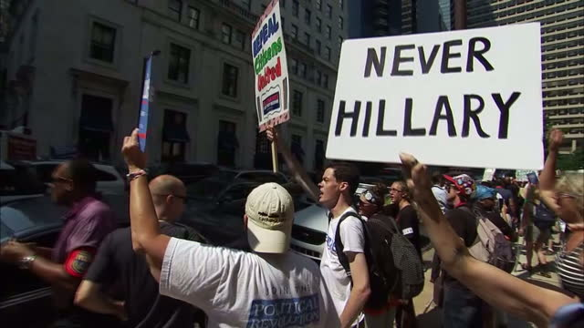 Exterior shots Bernie Sanders supporters protesting over Sanders endorsement of Hillary Clinton as the Democratic Presidential Candidate for...