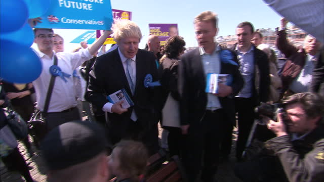Exterior shots Boris Johnson campaigning in Ramsgate followed by UKIP and Conservative Party supporters Exterior shots UKIP banners in Ramsgate on...