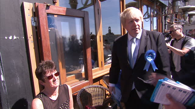 Exterior shots Boris Johnson Mayor of London campaigning in Ramsgate with Craig Mackinlay Conservative Candidate with UKIP and Conservative Party...