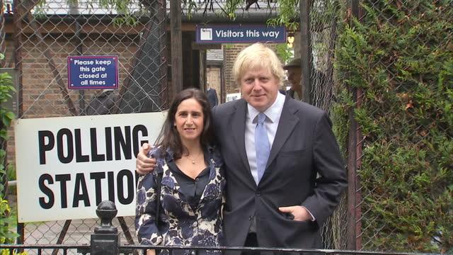 Exterior shots Boris Johnson wife Marina Wheeler pose for the media outside the polling station before walking off Boris Johnson outside Polling...