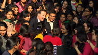 exterior shots British Prime Minister David Cameron and actor Aamir Khan pose talk with female students during visit to Janki Devi Memorial College...