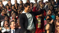 exterior shots British Prime Minister David Cameron and actor Aamir Khan arrive for visit to Janki Devi Memorial College in New Delhi greeted by...
