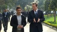 exterior shots British Prime Minister David Cameron and actor Aamir Khan arrive for visit to Janki Devi Memorial College in New Delhi David Cameron...
