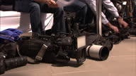 Exterior shots camerasmedia camera crews filming journalists correspondents ahead of G7 Financial ministers meeting at Royal Palace on May 28 2015 in...