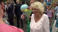 Exterior shots Camilla Duchess of Cornwall chats with members of the public congratulating her on the news of the Royal baby during a visit to York...