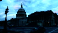 Exterior shots Capitol Hill at dawn with fast moving clouds in background America woke up to a government shutdown after a deeply polarised Congress...