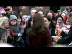 Exterior shots Catherine Duchess of Cambridge meeting and greeting wellwishers as she arrives at Liverpool's Alder Hey Children's Hospital Catherine...